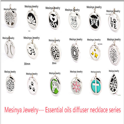 10pcs mesinya new series 19 designs (30mm) Aromatherapy / Essential Oils 316L surgical S.Steel Perfume Diffuser Locket Necklace - onlinejewelleryshopaus