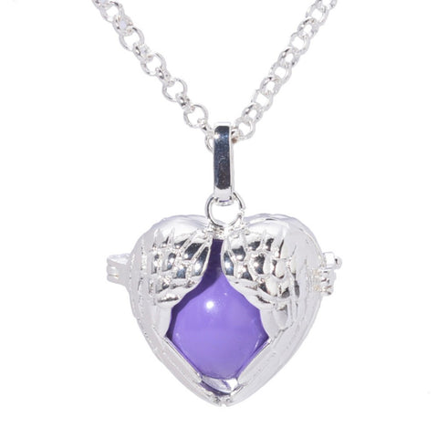 10Pcs Silver Plated Heart Angel Wings Sound Ball Cage Locket  Pendant Necklace For DIY Locket Necklace - onlinejewelleryshopaus