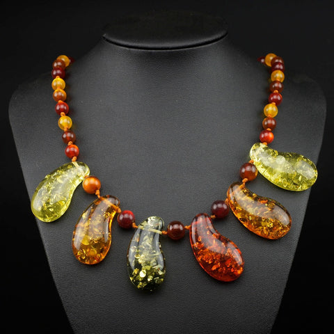Amazing Huge Baltic Multicolor Simulated Imitation Amber Beads Chain Pendant Necklace For Women's Girls Statement L60501 - onlinejewelleryshopaus