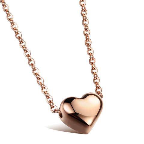 2016 New 2 Colors Heart Pendant Necklace 316L Titanium Steel Real Rose Gold Plated Woman Jewelry gift Never Fade Free Shipping - onlinejewelleryshopaus