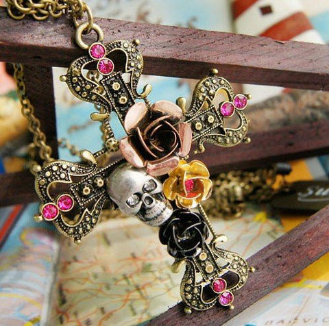 12pcs/lot Free shipping wholesale Fashion Skull Necklace,Rose Flower Skull Cross Pendant necklaces, sweater chain - onlinejewelleryshopaus