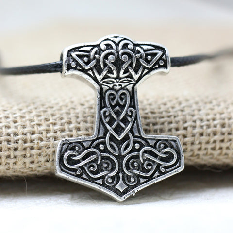 10pcs Norse Vikings Thor's Hammer Mjolnir Pendant Necklace Viking Knot pendant Necklace Scandinavian Norse Jewelry Mammen - onlinejewelleryshopaus