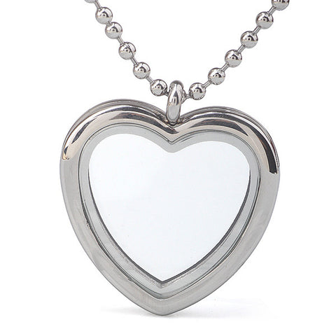 High quality floating charms Stainless Steel 30mm Heart memory Locket pendant necklace - onlinejewelleryshopaus