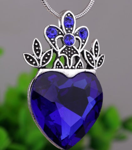 Big Silver Plated Crown Pendant Necklace Jewelry Blue Descendants Necklace Heart Crown Gift YPQ0552 - onlinejewelleryshopaus