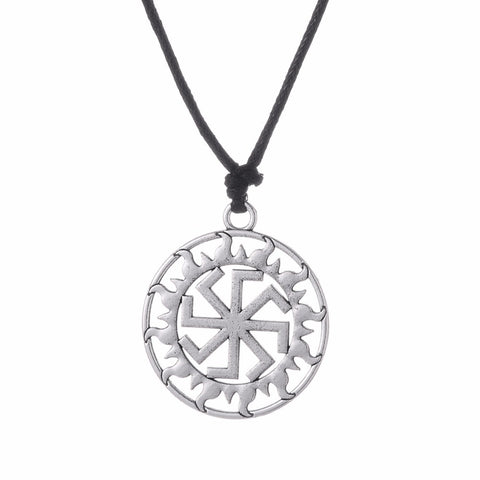 Slavic Silver plated   Kolovrat   Pendant Necklace Slavic Amulet  Sun Wheel Kolovrat Pendant Necklaces For Man - onlinejewelleryshopaus