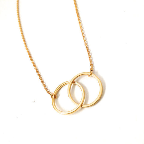 20pcs/lot Gold and Silver Infinity Double Circles Necklace for Girls Interlocking Circles Pendant Necklace XL184 - onlinejewelleryshopaus