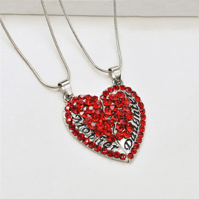 1Pair Fashion Broken Heart Mom Family Full Crystal Heart Pendant Necklaces Daughter Mother Charms Jewelry Friendship Gift - onlinejewelleryshopaus