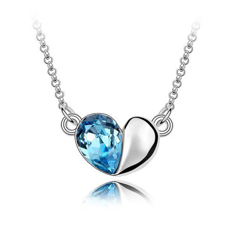 Real Austrian Crystals  Pendant Necklace for women angle heart New 88063 - onlinejewelleryshopaus