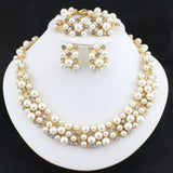 2015 New Fashion Imitation Pearl Necklace  Dubai Gold Plated African Beads Costume Acessories Bridal wedding Jewelry Sets - onlinejewelleryshopaus