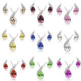Austria Crystal Water Drop Silver Plated Earrings Necklace Women Jewelry Sets Bridal Wedding Party Gift - onlinejewelleryshopaus