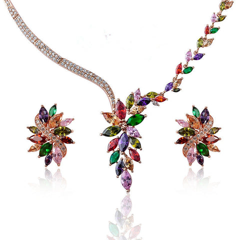 2016Fashion hot-selling luxury brand wedding banquet ball woman classic necklace earring jewelry set popular fashion accessories - onlinejewelleryshopaus