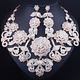 FARLENA Wedding Jewelry Exquisite 3D flower necklace earrings set full crystal rhinestones african bridal jewelry sets - onlinejewelleryshopaus