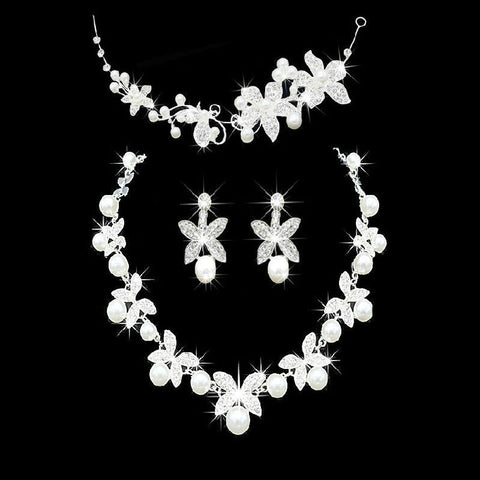 Pearl Jewelry Fower Headdress Bride Upscale Bridal Pearl Jewelry Bride Three-Piece Suit Jewelry Sets Bridal Jewellery - onlinejewelleryshopaus