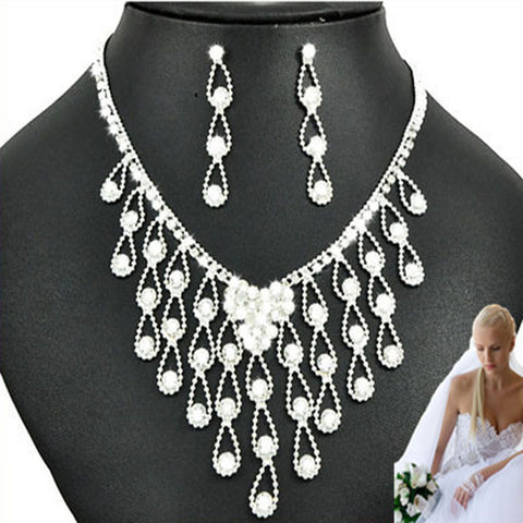 New Arrival Women Crystal Necklace Stud Earrings Set High Quality Trendy Bride Set Bridal Jewellery Set Free Shipping - onlinejewelleryshopaus