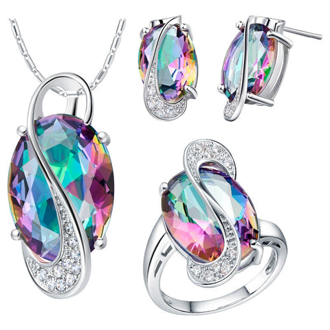 Jewelry sets for women fashion silver 925 Amethyst jewelry  gold plated necklaces rings stud earrings Bridal Jewelry Sets - onlinejewelleryshopaus
