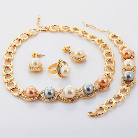 U7 Simulated Pearl Beads Jewelry Sets Yellow Gold Plated Necklace Bracelets Ring Earrings Wedding/Bridal Jewelry Sets S559 - onlinejewelleryshopaus