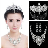 2016 New Luxury Wedding Jewelry Sets Sparking Rhinestone Crystal Bride Necklace Earrings Set Charm Silver Plated Bridal Jewelry - onlinejewelleryshopaus