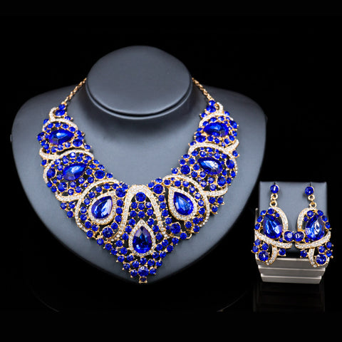 lan palace bridal jewellery latest african beads for wedding  gold plated  necklace and drop earrings  six colors free shipping - onlinejewelleryshopaus