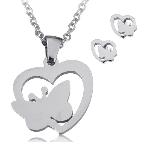 New Stainless Steel Jewelry Sets Wedding Bridal Gifts Silver Tone Gold Plated Stud Earring Heart Butterfly Pendant Necklace Set - onlinejewelleryshopaus