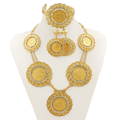Fashion jewelry sets Dubai  gold plated jewellery Retro Bridal Wedding Necklace Set Africa Nigeria Women Costume Jewelry - onlinejewelleryshopaus