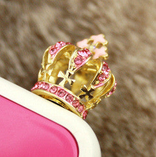 2016 New Jewelry Fashion Luxury Crystal Crown Mobile Phone anti dust earphone jack plug Dustproof Plug Cell Phone Accessories - onlinejewelleryshopaus