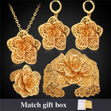 U7 Wedding Bridal Jewelry Sets Yellow Gold Plated Dress Flower Sets Wholesale Necklace Earrings Bracelet Ring S152 - onlinejewelleryshopaus
