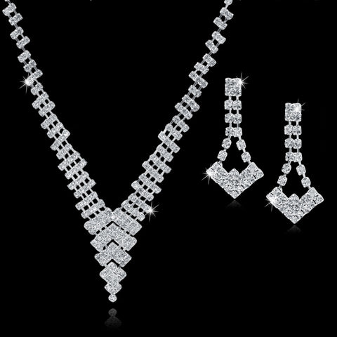 Valentine's Day Gifts Brand V Shaped Rhinestone Crystal Necklace Earrings Sets Bridal Jewelry Wedding Accessories Set150052117 - onlinejewelleryshopaus