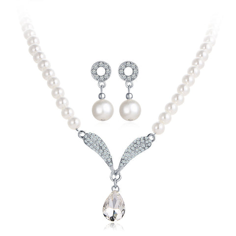 BYSPT Imitation Pearl Necklace Earrings Wedding Jewelry Sets Vintage Fashion Crystal Bridal Jewellery Set for Women Gift - onlinejewelleryshopaus