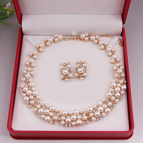 Hot Worldwide Imitation Pearl Gold Plated Simple Elegant Bridal Jewelry Sets Kit Gift Fast Free Shipping New Hot Selling NO1 - onlinejewelleryshopaus