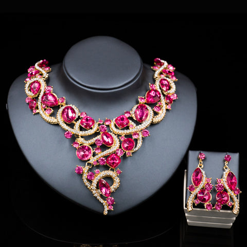 2016 new nigerian beads necklaces gold plated necklace and earrings  bridal jewelry sets for women six colors free shipping - onlinejewelleryshopaus