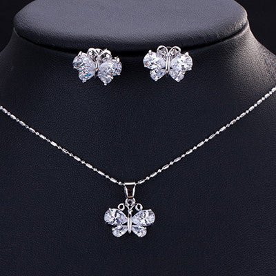ZOURU Brand High Quality Hot White Gold Plated Big CZ Stone Set Necklace And Earrings Bijou Femme Bridal Jewellery Free Shipping - onlinejewelleryshopaus