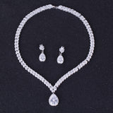 DOKOL Clear Water Drop Cubic Zirconia Jewelry Sets For Wedding White Gold Plated Clear Crystal Bridal Jewellery DKS0024 - onlinejewelleryshopaus