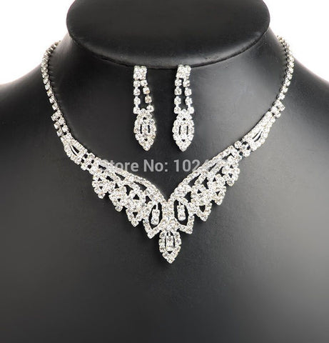Women Shining V Shaped Rhinestone Crystal Necklace Earrings Set Charm Wedding Bridal Jewelry Set For Wedding Bridal Jewelry - onlinejewelleryshopaus