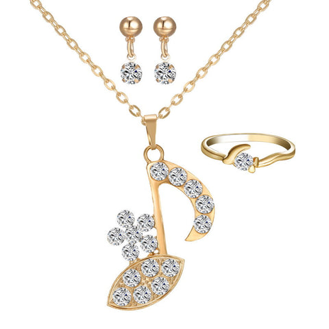 Fashion Musical Note Austria Crystal Rhinestone Pendant Gold Plated CZ Wedding Bridal Jewelry Sets for Women Jewelry Sets - onlinejewelleryshopaus