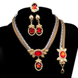 Free shipping  sale African jewelry sets gold plated fashion Resin crystal necklace bridal jewelry sets for women - onlinejewelleryshopaus