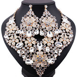 Luxury Gold Plated Crystal Flower Shape Statement Necklace and Big Earrings Statement African Bridal Jewelry Sets - onlinejewelleryshopaus