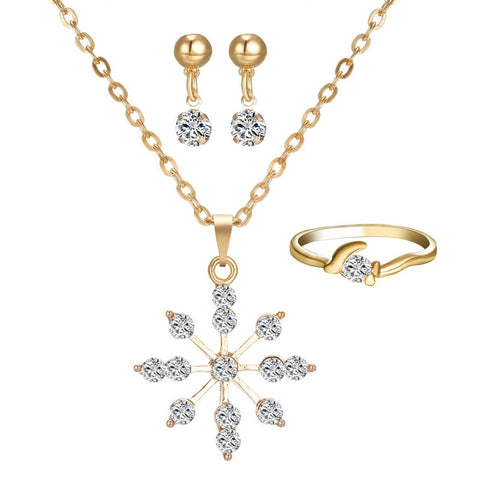 Luxury Austria Crystal Snowflake Flower Pendant Wedding Bridal Jewelry Sets Gold Plated Necklace Earrings Rings for Women - onlinejewelleryshopaus