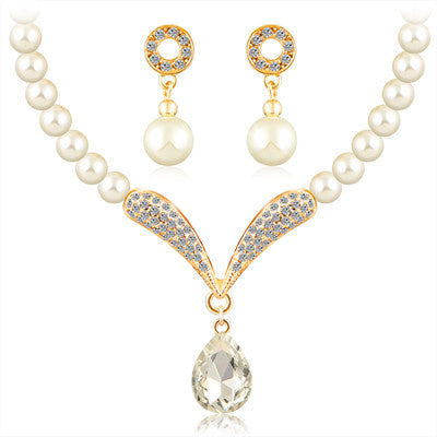 crystal jewelry sets for women girls platinum plated african beads nigerian wedding bridal round necklace earrings jewellery set - onlinejewelleryshopaus