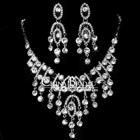Wholesale lots Crystal Necklace Sets, 2008T, Women Bridal Jewelry Wedding Accessory,Bulksale - onlinejewelleryshopaus