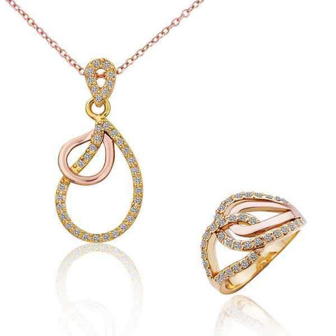 Hot Sale18K Real Gold Plated Rose Ring Gold Ring  Water Drop Pendant  Necklace Romantic  Bridal Jewellery Set S303 - onlinejewelleryshopaus