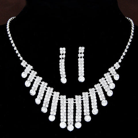 Hot New Women Necklaces Fashion Water Drop Rhinestone Bridal Jewelry Sets Necklaces & Pendants Earrings Jewelry Gift - onlinejewelleryshopaus