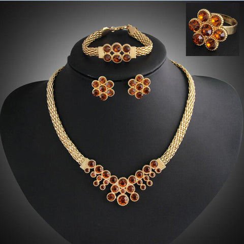 Austrian Crystal jewelry set for women fashion vintage necklace earring gold plated african costume wedding bridal jewellery set - onlinejewelleryshopaus