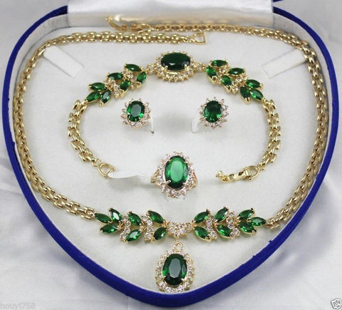 FREE SHIPPING>>>@ Bridal Jewellery Women's Set Green Crystal Necklace Earring Ring Bracelet AAA style 100% Natural jade Noble Fi - onlinejewelleryshopaus