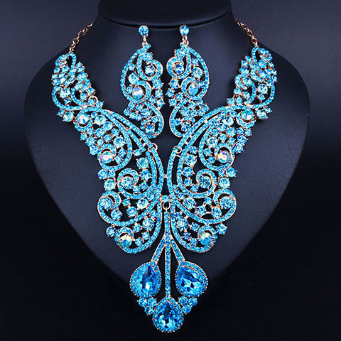African Wedding Jewelry Sets Full Crystal Rhinestones Jewelry Statement Necklace Earring Dubai Bridal Jewelry Sets - onlinejewelleryshopaus