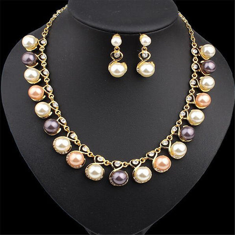 2016 New Necklace 1 Sets Bridal Jewelry Sets Earrings Fashion Women Crystal Beautiful Imitation Pearls Rhinestone 2016 New - onlinejewelleryshopaus