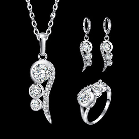 Brand CZ Diamond Wedding Bridal Jewelry Sets Silver Plated Micro Inlay Cubic Zircon Pendants Necklace Earrings Ring Set - onlinejewelleryshopaus