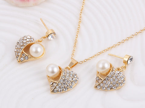Luxury Brand Imitation Pearl Necklace Earrings Wedding Jewelry Sets Vintage Fashion Crystal Bridal Jewellery Set for Women Gift - onlinejewelleryshopaus