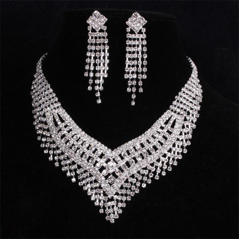 2016 New Fashion Crystal Bridal Jewelry sets Charming Rhinestone Wedding jewelry sets For Women - onlinejewelleryshopaus