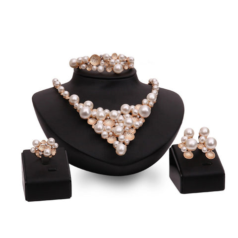 Fashion Bridal Jewelry Sets Simulated-pearl Crystal Gold Plated African Necklace Earrings For Brides Party Wedding Accessories - onlinejewelleryshopaus