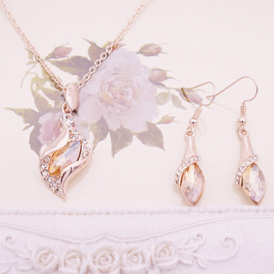 Fashion Bridal Jewelry Sets For Women Silver Crystal Necklace Earring Set Wedding Jewelry Collier Perle De Culture Mariage - onlinejewelleryshopaus